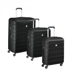 Delsey - Lagos - SET 3 pezzi valigia trolley da cabina, medio, grande 4 ruote TSA rigido nero cod. 3870986