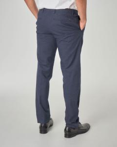 Pantalone chino blu in tessuto micro-disegno