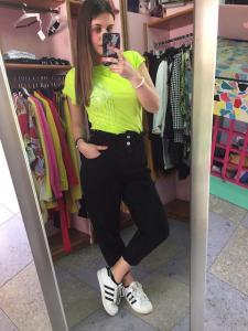 Jeans vita alta con arricciatura in vita 2 colori