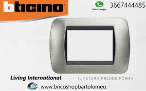 LIVING INTERNATIONAL - PLACCA 3P ACCIAIO SPAZZOLATO L4803ACS