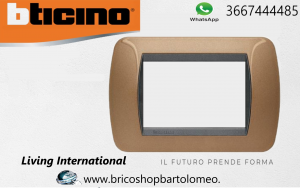 LIVING INTERNATIONAL PLACCA 3 MODULI METALLO BRONZO OSSIDATO L4803BO