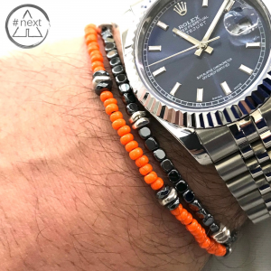 Dandy Street - Bracciale doppio giro perline vetro, ematite e argento - Arancio