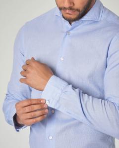 Camicia azzurra in cotone micro-armatura