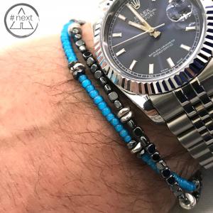 Dandy Street - Bracciale doppio giro perline vetro, ematite e argento - Azzurro