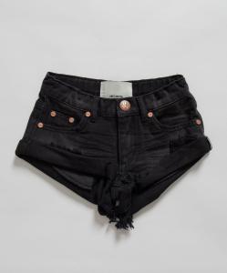 Pantaloncino di jeans nero con strappi