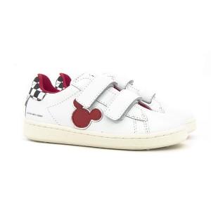 Scarpe bianche con sagoma Topolino rossa