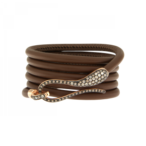 Elika Leather bracelet with rose gold and brown diamond clasp