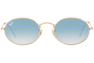 Ray Ban - Occhiale da Sole Unisex, Oval Flat Lenses, Gold/Mirror Light Blue RB3547N 001/3F C51