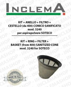 Mod. 3240 KIT + ANELLO+ FILTRO+ CESTELLO (da 400) CONICO SANIFICATO per aspirapolvere SOTECO