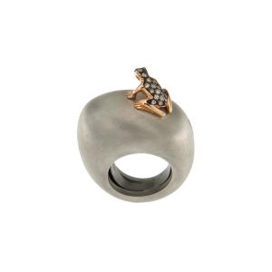 Anello in cataforesi, oro 18k e diamanti brown