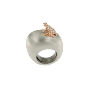 Anello in argento, oro rosa e diamanti