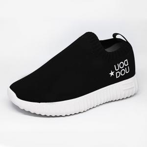 Scarpe nere senza lacci con stampa logo bianco