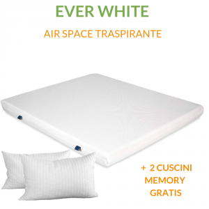 Materasso EVER Bianco in Waterfoam ORTOPEDICO alto 15 cm con Cuscini in Memory Foam GRATIS Rivestimento in AIR SPACE tessuto Traspirante Antiacaro per tutti Letti o Reti