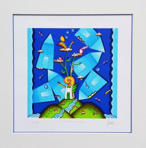 GHELLI GIULIANO, La casa della fantasia, Serigrafia, Formato cm 29x29