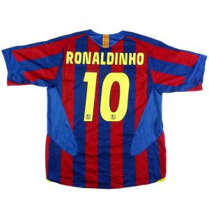 2005-06 Barcelona Maglia #10 Ronaldinho Home L (Top)