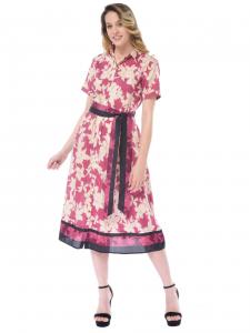 418635021a8e Abito lungo donna Seventy chemisier con fantasia rosa
