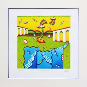 GHELLI GIULIANO, Pianura felice, Serigrafia, Formato cm 29x29