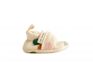 newborn baby shoes in organic cotton confetti pattern