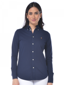 26d20e4cf0a7 Polo donna Ralph Lauren Knit Oxford manica lunga blu