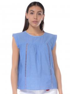 f70e0e4157f5 Top donna Manila Grace in cotone con inserti azzurro