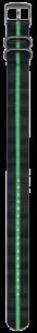 Cinturino nero e verde in nylon stile NATO - 23mm