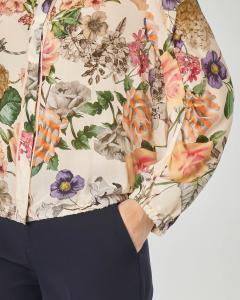Camicia in seta a stampa floreale con colletto alla coreana ed elastico sul fondo