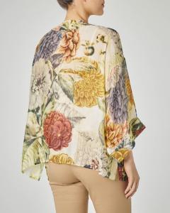 Kimono corto in viscosa misto modal con stampa floreale dalie gialle e bordeaux