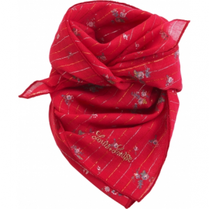 Sciarpa rossa con stampe linee, fiori e logo