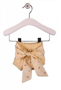 Pantaloncino giallo a pannolino con fiocco