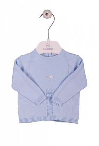 Maglietta da pigiama celeste a maniche lunghe con ricami