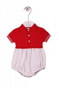 Tutina a polo rossa e pantaloncino bianco