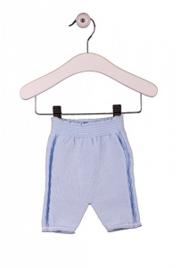 Pantalone celeste con ricami verticali