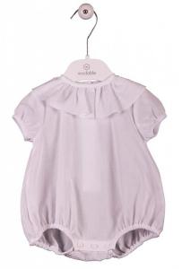 Blusa bianca basica con colletto volant