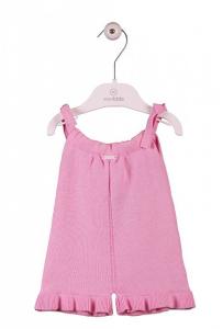 Tutina rosa con bretelle e pantalocino volant