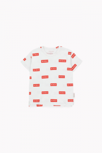 T-Shirt panna con stampe rettangoli rossi