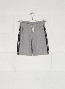 Pantaloncino di tuta grigio con stampa loghi bianchi