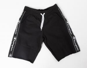 Pantaloncino di tuta nero con stampa loghi bianchi
