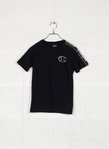 T-Shirt nera con stampa logo e bande bianche