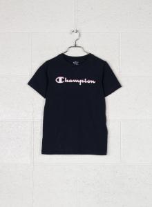 T-Shirt nera con stampa logo bianco, rosso e blu