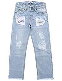 Jeans celeste con tasche bianche