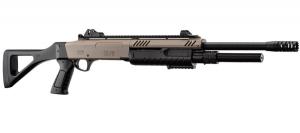 fucile a pompa long barrel FABARMS (BO) colorazione tan  3bb per sparo. (funzionamento a molla)  In dotazione presenti: 2 cartucce cal.12 Include dispositivi di puntamento in fibra ottica rimovibili.