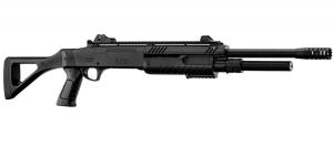 fucile a pompa long barrel FABARMS (BO) total black. 3bb per sparo. (funzionamento a molla)  In dotazione presenti: 2 cartucce cal.12 Include dispositivi di puntamento in fibra ottica rimovibili.