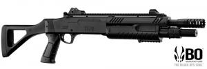 fucile a pompashort barrel FABARMS (BO) total black. 3bb per sparo. (funzionamento a molla)  In dotazione presenti: 2 cartucce cal.12 Include dispositivi di puntamento in fibra ottica rimovibili.