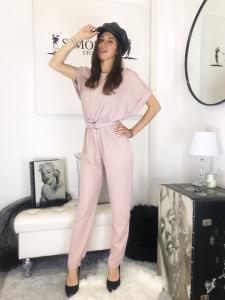 Tuta Elisabetta tuta intera mezza manica pantalone fluido con cintura in vita made in italy tg unica