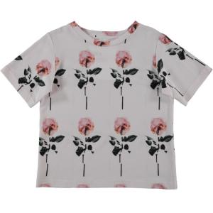T-Shirt bianca con stampe rose