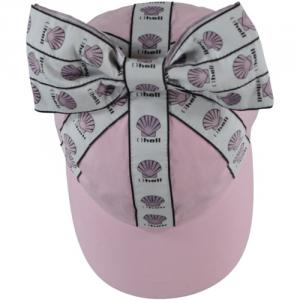 Cappello rosa con fiocco bianco e stampe conchiglie