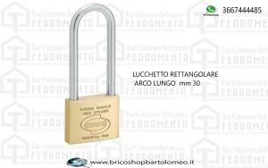 LUCCHETTO RETTANGOLARE ARCO LUNGO  mm 30