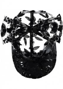 Cappello trasparente e nero con fiocco