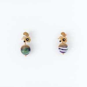 Orecchini in ottone galvanizzato e agate multicolor