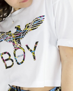 T Shirt Corta Boy London Bianca/Multicolor Con Stampa BLD1889